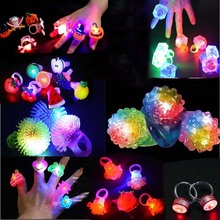 50pcs Children Adult Light Up Flashing Finger Ring Toy Gift Rave Party Light Rings NEW Year Christmas(China)