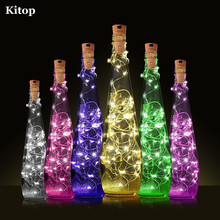 Kitop 6pcs 2M 20Leds Wine Bottle Cork String Light Battery Powered Silver Wire Starry Lights for Living room, Patry ,Christmas
