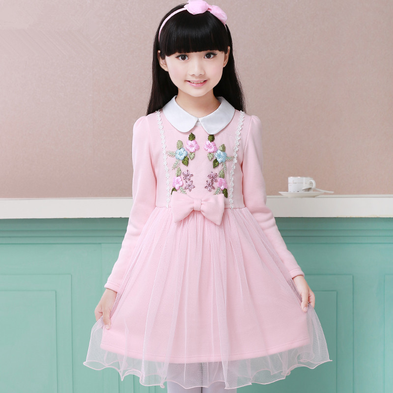 New Autumn And Winter Childrens Clothing Girls Korean Version Cotton Long-sleeved Princess Dress Girls Bow And Floral Dress<br><br>Aliexpress