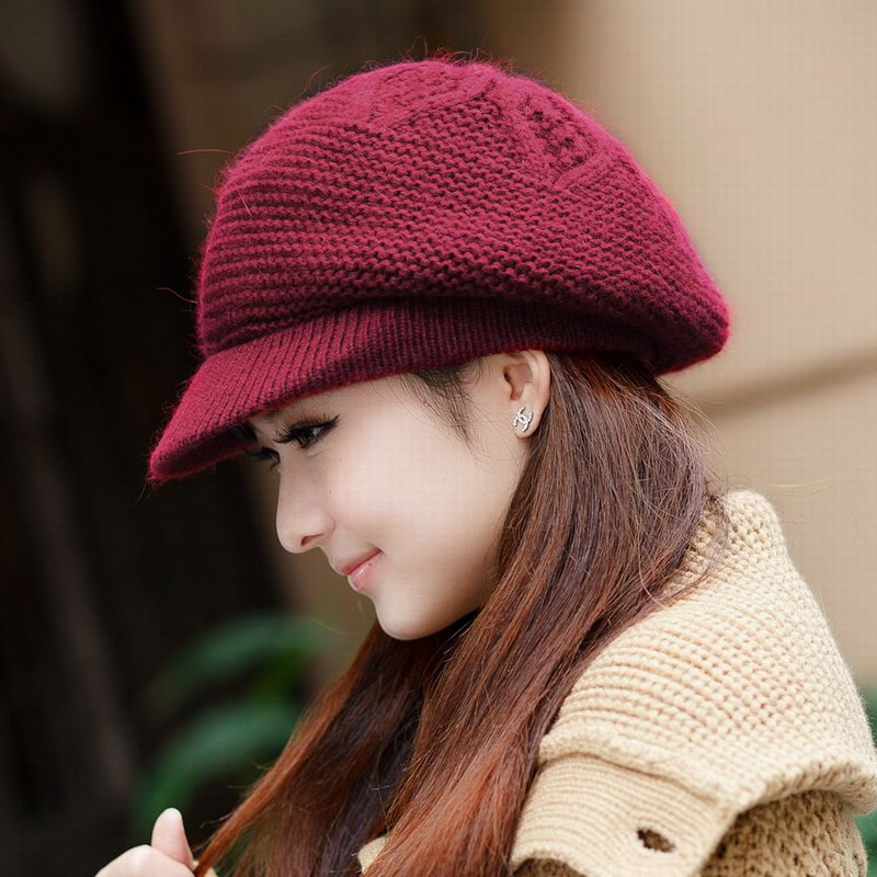 Hat winter yarn female autumn and winter rabbit fur hat womens female winter rabbit fur beanies fashion new brand womens beretОдежда и ак�е��уары<br><br><br>Aliexpress