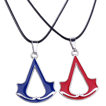 Assassins Creed necklace Women Cross Bule Red Leather chain Necklaces Pendants Trendy Fashion Jewelry Women Office Casual(China)