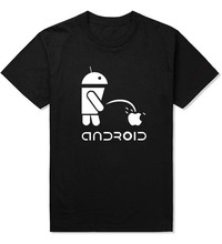 Fashion Men T Shirts Android Robot Male t-shirt apple humor logo printed funny t shirt short sleeve Round Neck Ringer Tees(China)