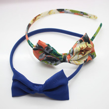 Girl's chiffon bow hairbands fabric floral printed bow knot headbands fashion hand made alice band fancy hair accessories