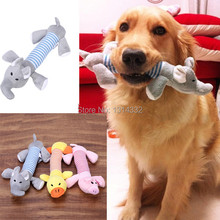 Free shipping Dog Pet Puppy Plush Sound Dog Toys Pet Puppy Chew Squeaker Squeaky Plush Sound Duck Pig & Elephant Toys 3 Designs(China)