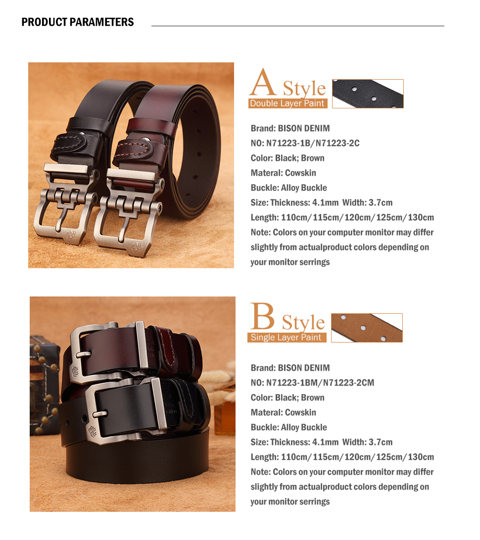 HTB17Th.fMMPMeJjy1Xcq6xpppXa1 - BISON DENIM genuine leather belt for men gift designer belts men's high quality Cowskin Personality buckle,Vintage jeans N71223