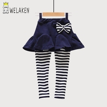 2017 Spring 2-8Y Kids Skirts Pant Baby Girl Clothes Red Blue Gray Bow Brushed Striped Leggings Cotton Baby Girls Skirt Pant