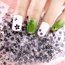 Blueness Charms 24Pcs/lot Manicure White&Black Flowers Design Nail Stickers DIY Decorations Tools For 3D Nail Art Decals JH154