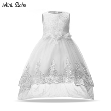 Aini Babe Flower Princess Girl Dress Pageant Children Frocks Formal Designs Dresses For Teenage Girls Wedding Party 12 Years