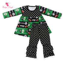 Kaiya Angel Hot Rugby Polka Dots Fall Factory wholesale Baby Girl Clothes Pajamas Set Winter Outfit Toddler Kids Birthday Gift(China)