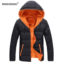 Black hooded jacket unisex winter jacket fashion red casual coat couple clothes winter thermal long sleeves men(China)
