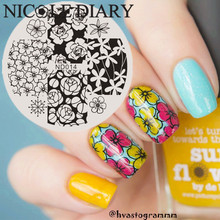 NICOLE DIARY-014 Nail Art Stamping Image Plates Flowers Patterns Stainless Steel High Quality DIY Stamping Template 26233(China)
