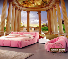 Custom 3d wallpaper mural vintage Roman pillar palace hall rainbow tv sofa bedroom living room cafe bar restaurant background