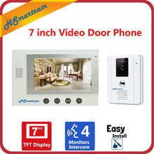 7inch LCD Video Doorphone Speakerphone Door Bell Private House Wired Audio intercom System 700TVL Waterproof IR 110 Angle camera