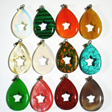 New design trendy jewelry mix color natural stone pendants hollow star water drop Charms for Necklaces making 12pcs/lot