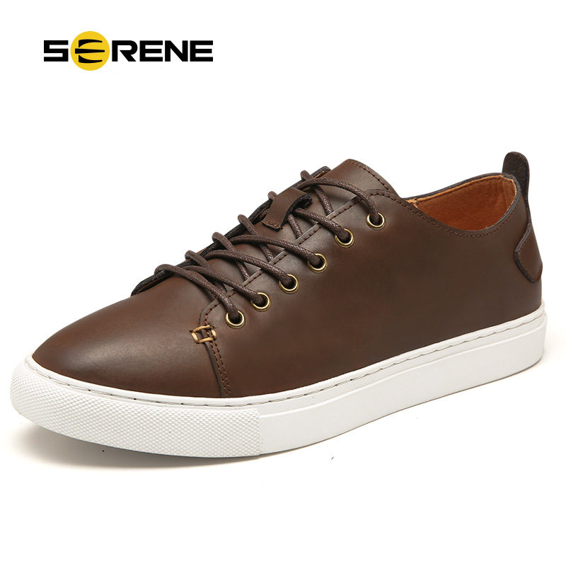 SERENE Brand 2017 Men Leather Shoes Casual Autumn Fashion Shoes For Men Designer Shoes Casual Breathable Big Size Shoes 6339 <br>