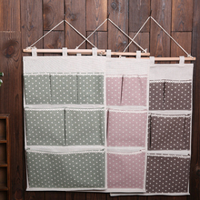 Multi-Layer Fabric Doors Dots Cotton Linen Wall pockets cloth Organiser Storage Bag