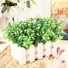 Milan Short Five Tablets Milan Grass Simulation Flower Plastic Flower Green Artificial Flower White Tablets AD0201