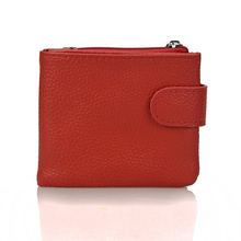 100% Genuine Leather Women Mini Clutch Wallet Short Design Coin Pocket Coin Purse Women Easy Carry Card Holder Wallet Money Bag(China)