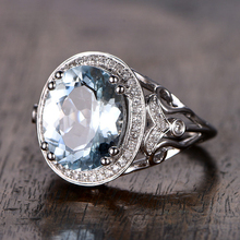 5.15CT Ring For Women Aquamarine Engagement Ring White Topaz side stone Wedding Set 14K White Gold Gemstone Promise Bridal Set