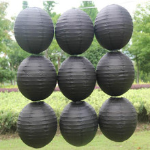 Black Color style paper lanterns 8 inch(20cm) wedding lanterns paper lampshade holiday party supplies Home Yard Garden Hanging