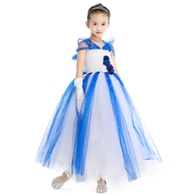 Elegant Royal Blue Girls Dresses for Wedding Party Rose Flower Pearls Baby Girls Tutu Dress with Lining Kids Girl Clothes Party(China)