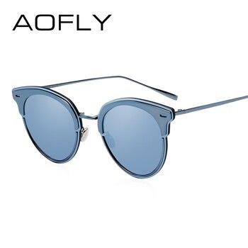 AOFLY Mode Cat Yeux lunettes de Soleil Miroir Revêtement Lentille lunettes de Soleil Femmes Marque Designer Métal Cadre Eyewears oculos feminino UV400