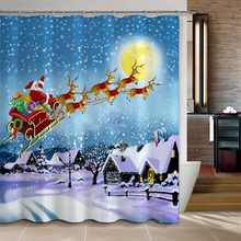 Christmas Gift Santa's Flight Pattern Bathroom Shower Curtain Waterproof Fabric Curtains 180*180cm with Hooks FP
