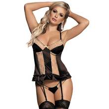 Sexy Costume Plus Size Lingerie Gold Soft Langerie Sexy Para Mulheres Sexy Underwear Hot Women Babydoll With Garter RS80351(China)