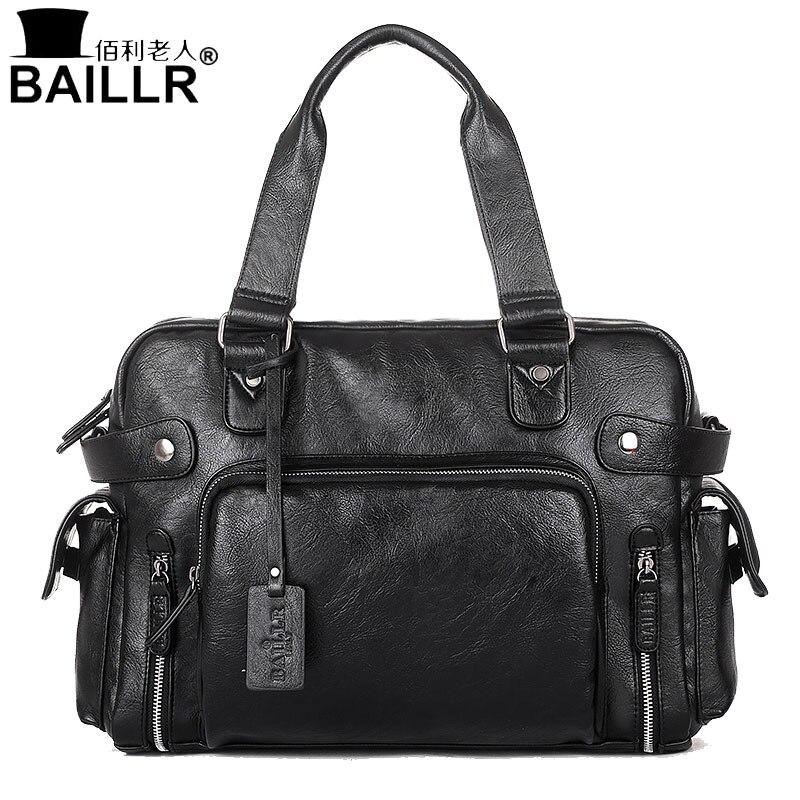 BAILLR Handbag Luxury PU Leather Man Bags Vintage Business Large handle Bag Fashion For Men Shoulder Mens Casual Big Tote Bags<br>