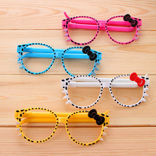 Free shipping 30pcs/lot creative novel cute stationery belt bow eye glasses ballpoint pen blue ink color(China)
