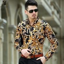 2017 Mens Leopard Print Dress Shirts Silk Baroque Clothing Luxury Brand Gold Chemise Abliamento Uomo