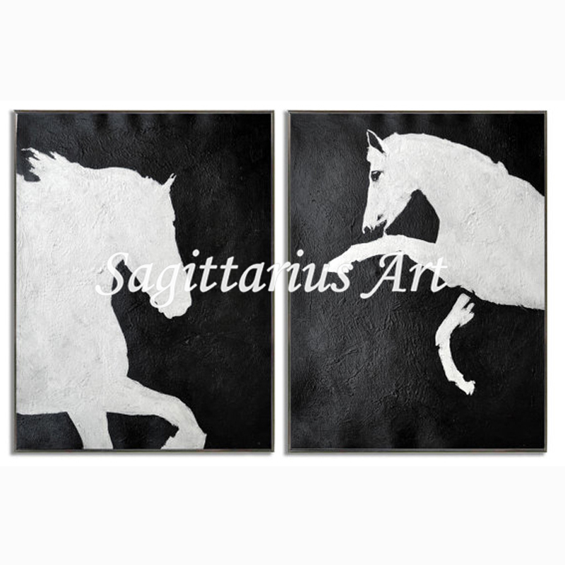 Abstract horse painting black and white
