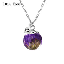 LIEBE ENGEL Choker Myosotis Sylvatica Dried Flower Glass Pendant Wish Bottle Necklace With Free Gift Box Women Necklace Jewelry