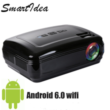 SmartIdea New Arrive 1080P Android 6.0 wifi bluetooth LED home theater projector video game projector  LCD HD 3D cinema Beamer