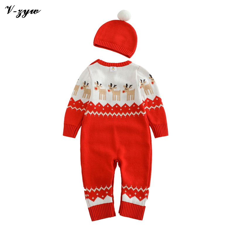 Christmas Gift Winter Baby Rompers Cotton Wool Sweater Set Jumpsuit Newborn Boys Girls Outerwear Costume Coat Children Clothing<br>