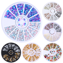 1 Box Multi Color Shinning Nail Rhinestones Sharp Flat Bottom Studs 3D Nail Decor Manicure Nail Art Decoration In Wheel
