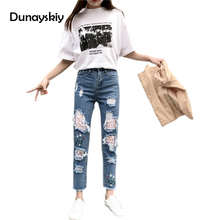 Boyfriend Jeans For Women Floral Embroidery Lace Net Hole Regular Spandex Denim Jeans Woman Cowboy Pants Lady Trousers Dunayskiy