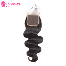 AliPearl Hair 100% Human Hair Lace Closure Brazilian Body Wave 4X4 inch Free Part Remy Natural Color 130% Density Free shipping(China)