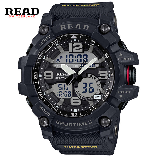 Men Sport Military Quartz Watches Round Dial Large Digital Scale Analog WristWatch Relogio Masculino READ 90001 <br><br>Aliexpress