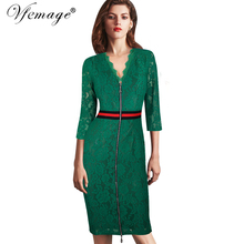 Vfemage Women Sexy Elegant V-neck Floral Delicate Lace Slim Tunic High Waist Casual Party Evening Sheath Bodycon Dress 4359(China)