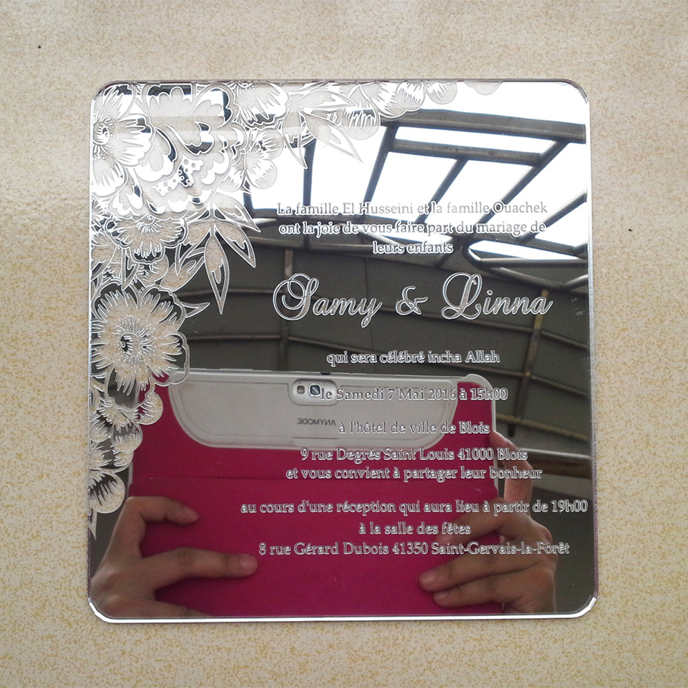 Sample order for 7*7inch flower elements square shape silver mirror acrylic wedding invitation card<br>