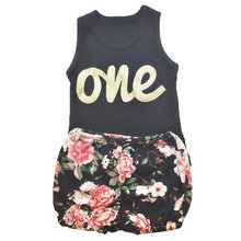 Newborn Baby 1st Birthday Party Suits Summer Clothes Girls Boys T Shirt Floral Print