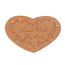 "PU Leather Garment Labels Tags Heart Light Brown Branch Message ""Hand Made By Love"" Pattern 45mm x 30mm, 20 PCs"
