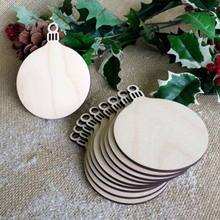10pcs Wood Blanks Round Bauble Blank DIY Christmas Decorations Tag Wooden Craft Xmas Tree Hanging Decor Natural Wood Decoration(China)