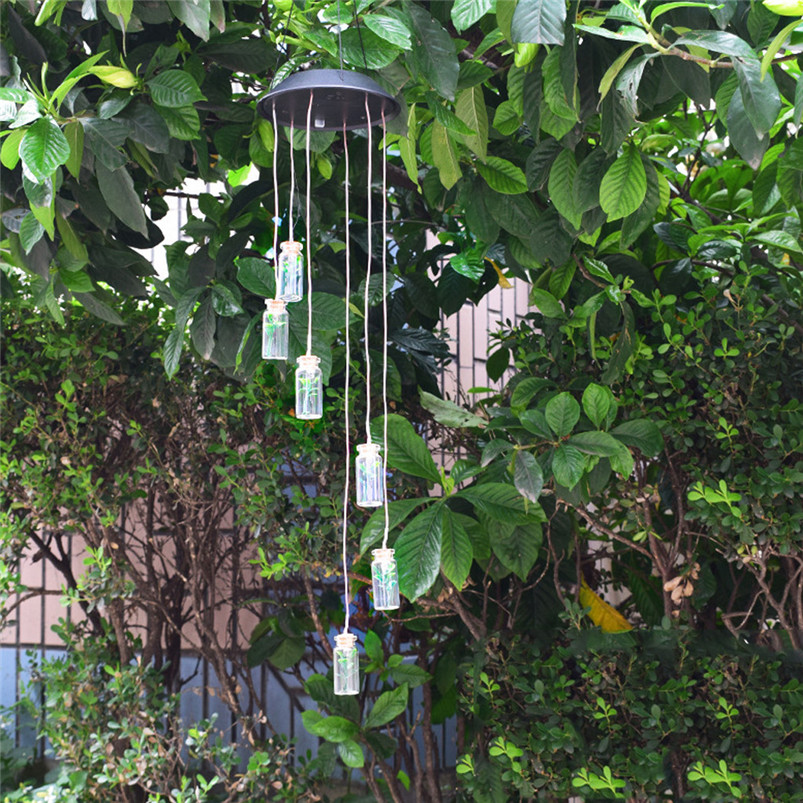 Solar Color-Changing Wind Chime Light LED Garden Hanging Spinner Lamp Color Changing Wind Chime Light Luces 40JUN257