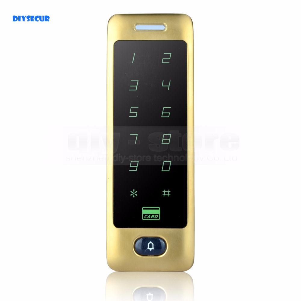 DIYSECUR 125KHz Rfid Card Reader Door Access Controller System Password Keypad Metal Case Golden<br>