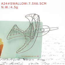 A24 SWALLOW PAPER/NOTE CLIP PRACTICAL/NOVELTY/CREATIVE STAINLESS HAND-MADE ART CRAFTS WEDDING&BIRTHDAY&HOME&OFFICE&GIFT&PRESENT(China)