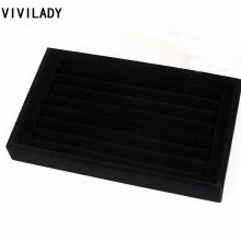 VIVILADY 15*23cm Black Velvet Jewelry displays Cases For Women Rings Free Shipping Big Discount MD53 Bijoux Organizer Showcase
