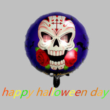 Newstyle 18inch halloween skeleton foil balloons 5pcs printed skull rose aluminum mylar globos happy halloween party supplies