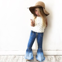 2017 Spring Summer Fashion Gilrs Vintage Jeans Baby Girls Denim Flare Pants Children Pants 1-5Year